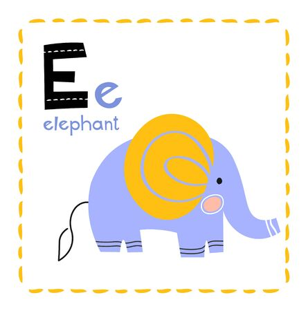 Letter E. Funny Alphabet for young children. Learning English for kids concept with a font in black capital letters in vector. Stock Illustratie