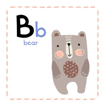 Letter B. Funny Alphabet for young children. Learning English for kids concept with a font in black capital letters in vector.
