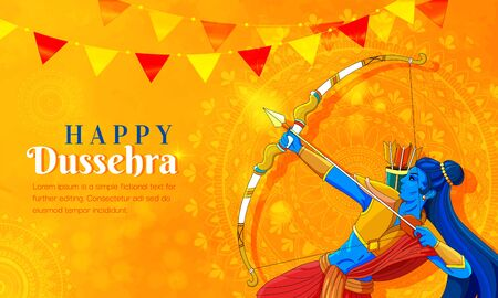 illustration of Lord Rama killing Ravana in Navratri festival of India poster for Happy Dussehra.