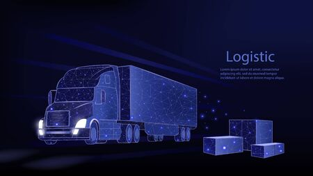 Truck. Abstract vector 3d heavy lorry van. Isolated on blue. Transportation vehicle, delivery transport, cargo logistic concept. Freight shipping, international delivering industry.