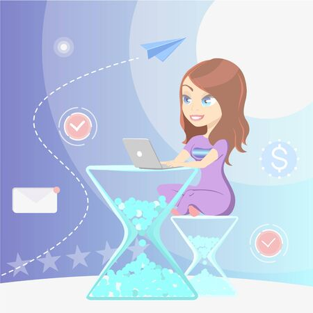 Time management concept with woman sitting working on a laptop computer on an hourglass or egg timer for the table and stool Çizim