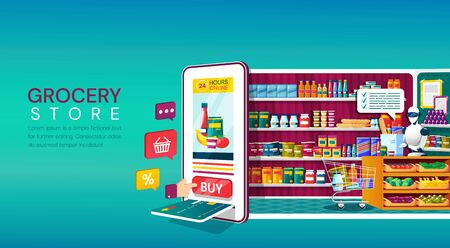 Online Grocery Store shopping concept
