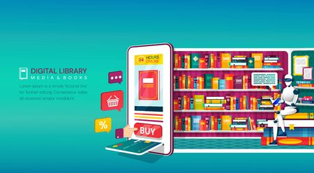 Online digital library shopping concept