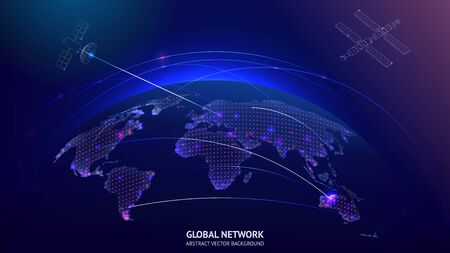 Global networking communication concept with satellites