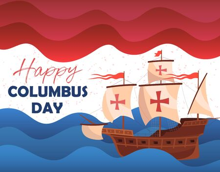 Happy Columbus Day greeting card or poster design showing a historic wooden schooner