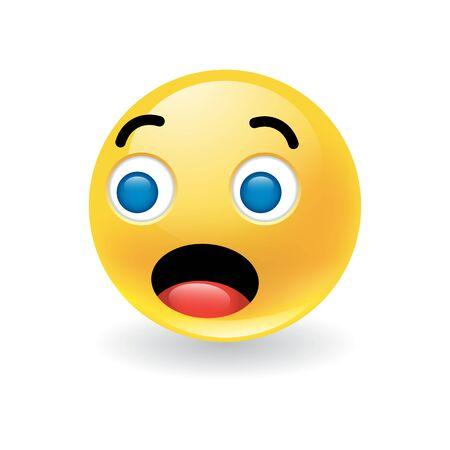 Émoticône ronde jaune colorée montrant l'étonnement ou l'étonnement