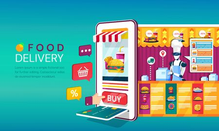 Online food order and delivery concept with a mobile phone or tablet with shopping icons and card payment slot backing onto a takeaway food store 向量圖像