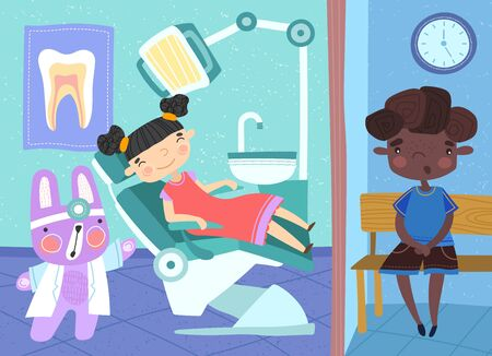 Cartoon illustration of two young children at the dentist, the girl sitting in the chair in the surgery being attended to by a cute rabbit character dentist and the boy in the waiting room Ilustrace