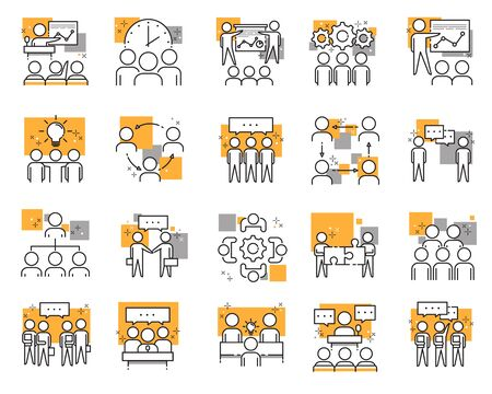 set of different meeting icons: meetings, brainstorm, group team people, conference, leader, discussion Illustration
