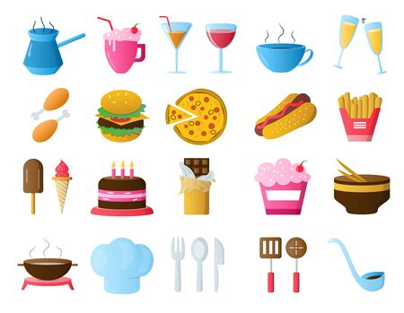 Food and drink icons. Restaurant line icons set Иллюстрация