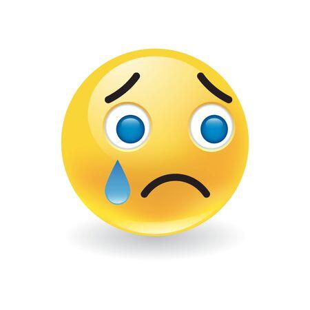 Trauriger verärgerter kleiner gelber runder Emoticon weint