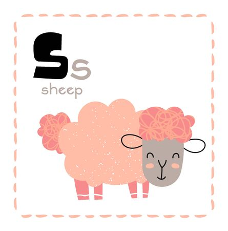 Cartoon Alphabet letter S for Sheep for teaching kids to read and write with upper and lower case text alongside a pretty little woolly pink sheep, vector illustration