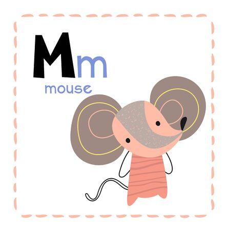 Alphabet letter M for Mouse for kids with upper and lower case letters and a cute cartoon drawing of a little mouse, vector illustration Иллюстрация