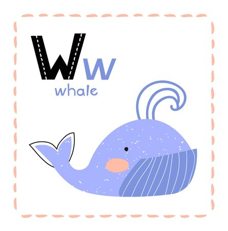 Cartoon Alphabet letter W for Whale for kids