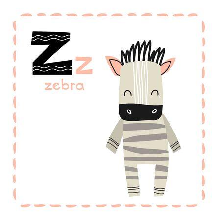 Educational Alphabet letter Z for Zebra for kids 向量圖像
