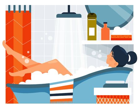 Daily life. Daily life. Woman taking a bath. Vector illustration. Cartoon character.  イラスト・ベクター素材