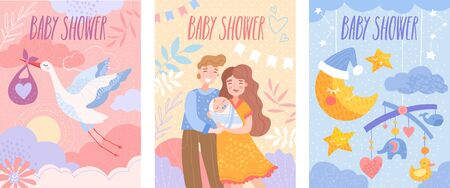 Set of baby shower invitation templates with happy parents, flying stork and dormant crescent Stockfoto - 130748635