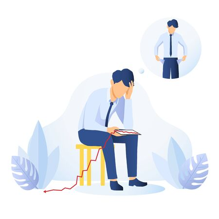 Businessman with empty pockets pulling them out to show he is skint then sitting down with a tablet with descending graph dropping to the floor, conceptual of a failure or money problem. Vector image