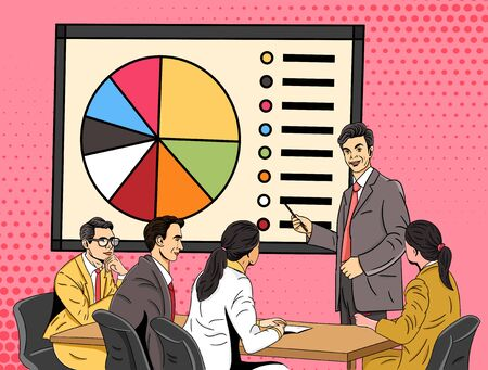 Businessman giving a presentation using a chart