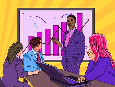 Black businessman giving a presentation in office