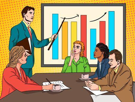 Businessman doing a presentation for his team
