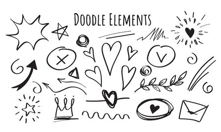 Set of hand drawn Doodle elements, black on white background. Illustration