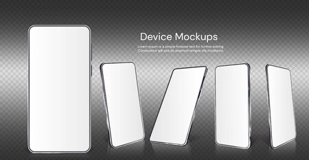Realistic smartphone mockup. Cellphone with blank display isolated templates, different angles views