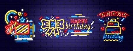 Three designs for Birthday neon party lights Ilustrace