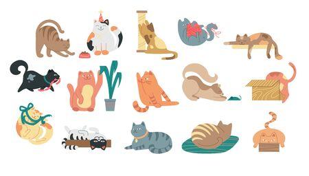 Large set of cartoon cats
