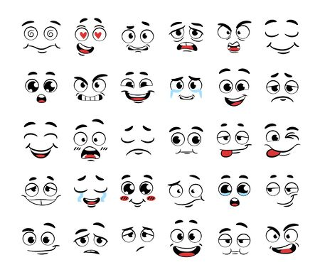 Set of funny cartoon faces Иллюстрация