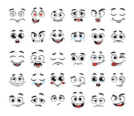 Zestaw zabawnych twarzy z kreskówek