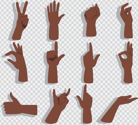 Set of hands showing different gestures