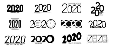 Set of 2020 happy new year signs Stock Vector - 134590425