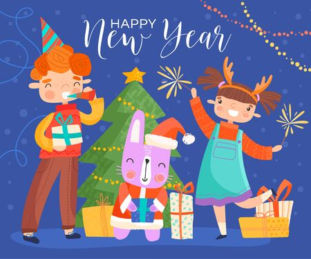 Young children celebrating Happy New Year