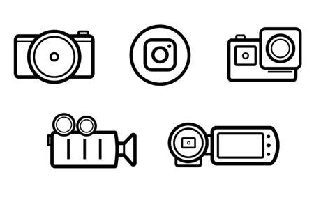 Set of black and white linedrawing camcorder icons Illusztráció