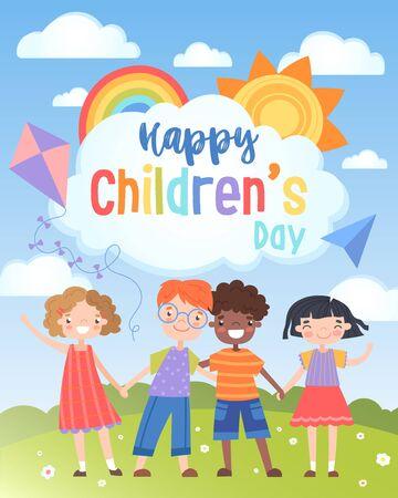 Bonne carte de voeux pour la Journée internationale des enfants