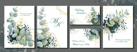 Wedding invitation stationery set with flowers