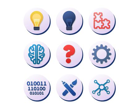 Set of icons for ideas, innovation and inspiration in circles depicting computing, a human brain, light bulbs, question mark, art, puzzle pieces industrial gear and science, vector illustration