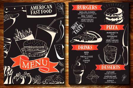 Burger menu template for restaurant Ilustrace