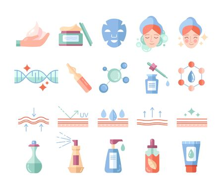 Colorful skin care and beauty cosmetics icons set