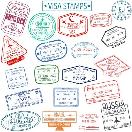 Set of arrival and departure visa stamps Illustration