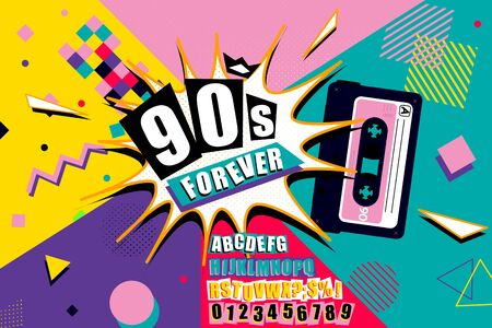 Colourful 90s Forever poster design