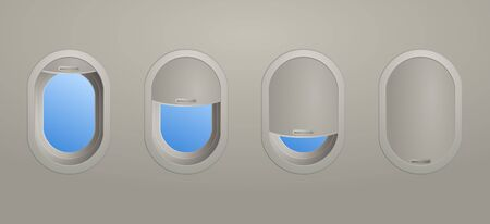 Four aircraft windows showing the blinds opened to different levels from wide open to completely closed viewed from inside the cabin of the plane, vector illustration Иллюстрация