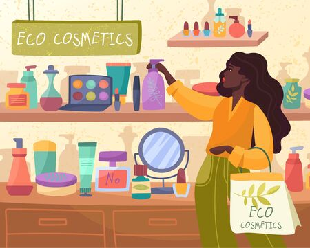 African woman shopping for Eco Cosmetics Illustration
