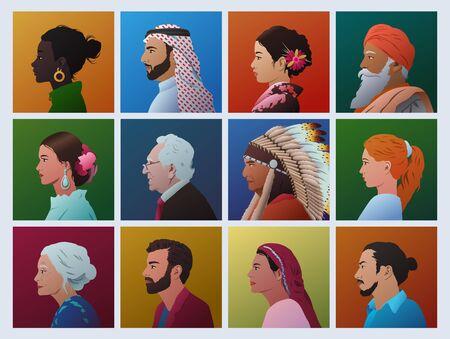 Vector de caras de perfil de personas de diferentes culturas