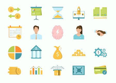 Large set of cartoon business and finance icons