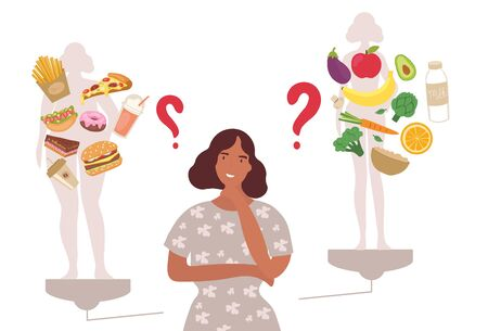 Woman choosing between healthy and unhealthy foods imagining in her mind the effect they will have on her body and weight with central copy space, vector illustration