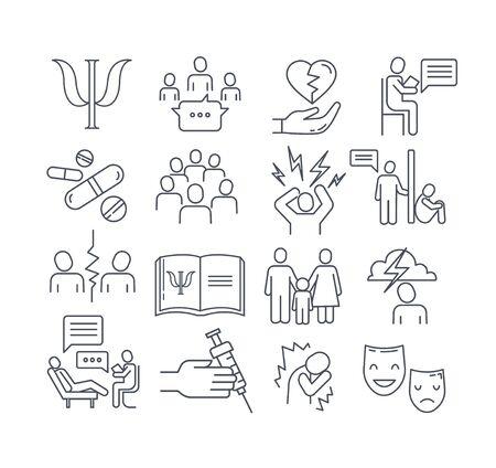 Gran conjunto de iconos de dibujo de líneas de psicología en blanco y negro con terapia de grupo, analista, medicamentos, psiquiatra, médico, diario, emociones, estados de ánimo y terapia para elementos de diseño