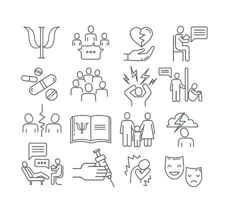 Large set of psychology line drawing icons in black and white with group therapy, analyst, drugs, psychiatrist, medical, journal, emotions, moods and therapy for design elements