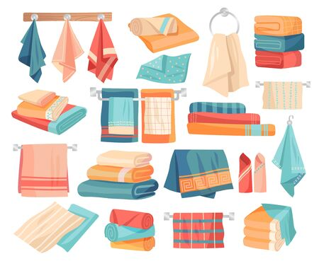 Large set of colored towel icons Ilustração